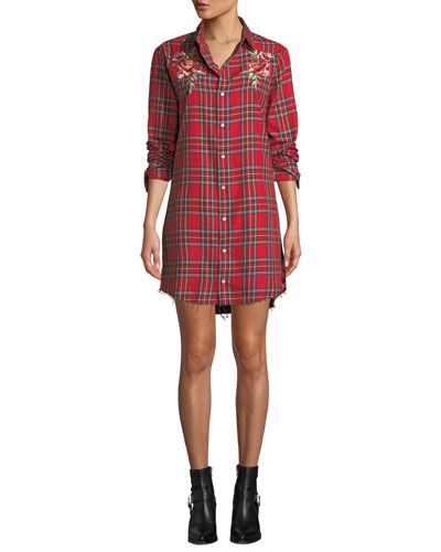 Embroidered Plaid Frayed Shirtdress