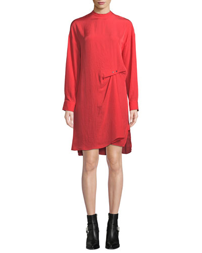 Jacklin Draped Long-Sleeve Shift Dress