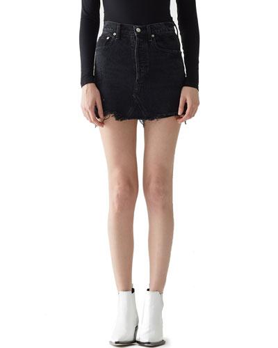 Quinn High-Rise Frayed Denim Mini Skirt
