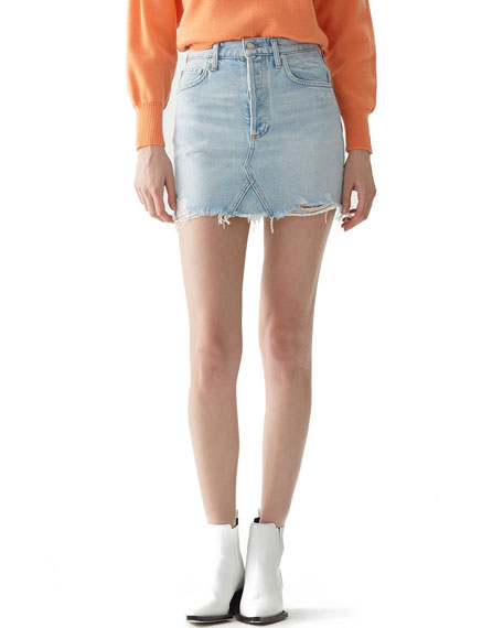 AGOLDE Quinn High-Rise Frayed Denim Mini Skirt
