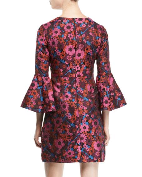 Bell-Sleeve Floral Mini Dress