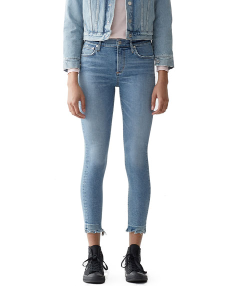 AGOLDE Sophie High-Rise Cropped Skinny Jeans with Chewed