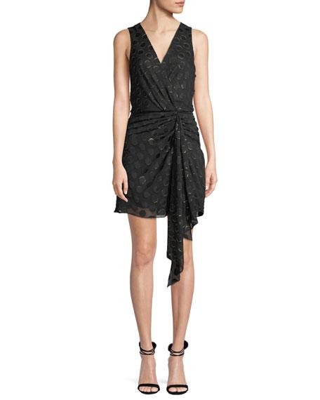 Ramy Brook Desiree Sleeveless Dot Applique Metallic Mini Dress In Black  Pattern 72ececae693