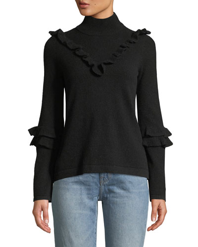 Shelly Turtleneck Wool-Blend Sweater w/ Ruffled Trim