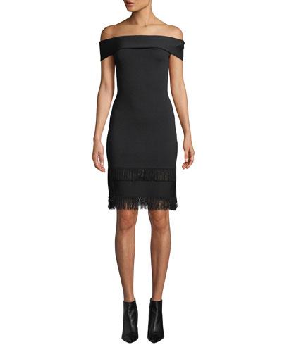 Serena Off-Shoulder Fringe Dress