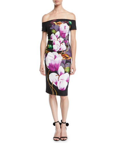 Ruby Off-the-Shoulder Tulip Floral Sheath Dress