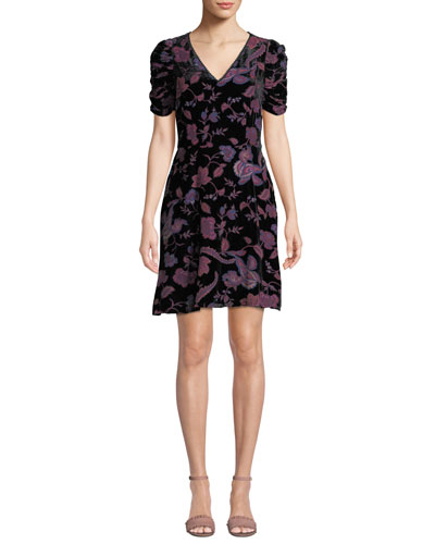 Rebecca Minkoff Arlette Printed Velvet Short-Sleeve Dress