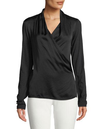 Bedelia Wrap-Front Long-Sleeve Top