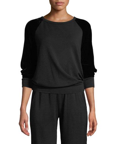 Westine Crewneck Sweatshirt with Velvet Sleeves