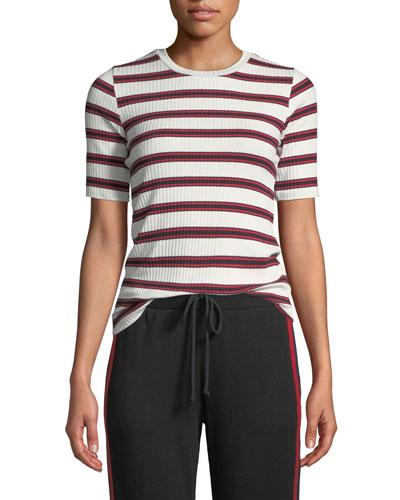 Kay Striped Rib-Knit Tee