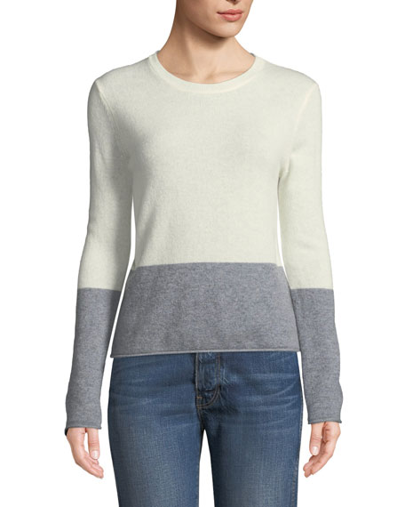 VELVET Rozalie Colorblock Cashmere Pullover Sweater in Gray