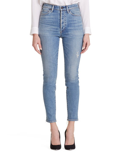 Olivia High-Rise Slim Ankle Jeans w/ Button Fly