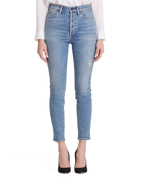 Olivia High-Rise Slim Ankle Jeans W/ Button Fly, Back Road
