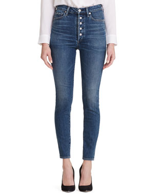 74bcdf3f4500 Citizens of Humanity Olivia High-Rise Skinny Jeans with Exposed Button Fly