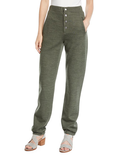 Sailor Wool-Blend Sweatpants with Exposed Fly