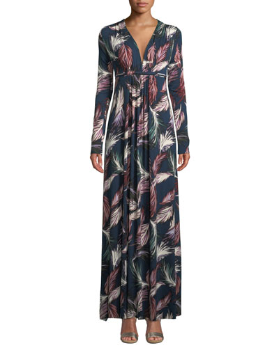 Long-Sleeve Feather-Print Long Caftan Dress, Plus Size