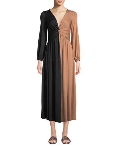 Two-Tone Twist Long-Sleeve Dress