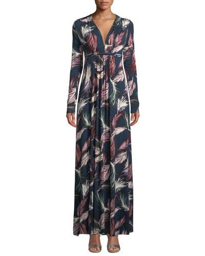 Long-Sleeve Feather-Print Long Caftan Dress