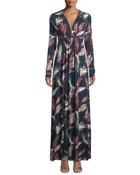 RACHEL PALLY Long-Sleeve Feather-Print Long Caftan Dress, Plus Size in Feather Print