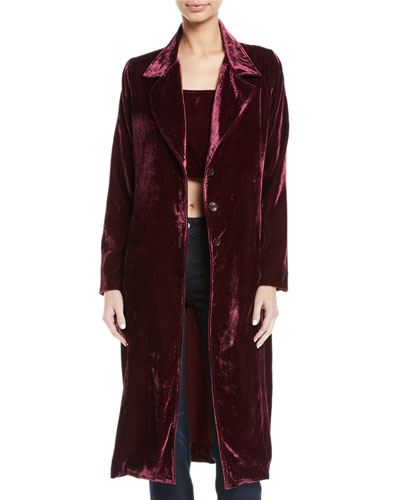 Long Velvet 3-Button Coat, Plus Size
