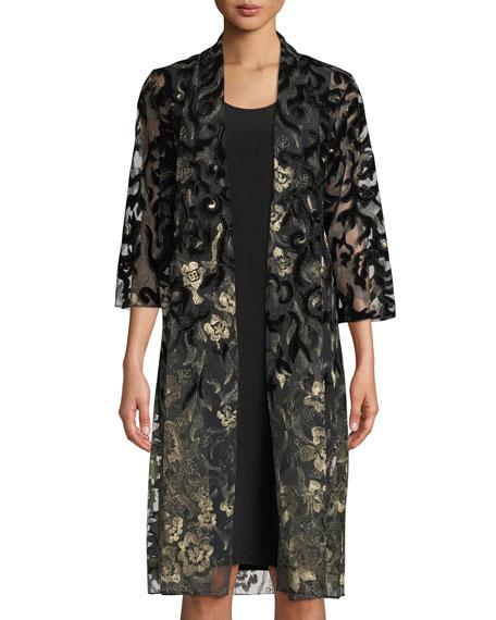 CAROLINE ROSE Velvet Lace Duster Jacket in Gold/Black