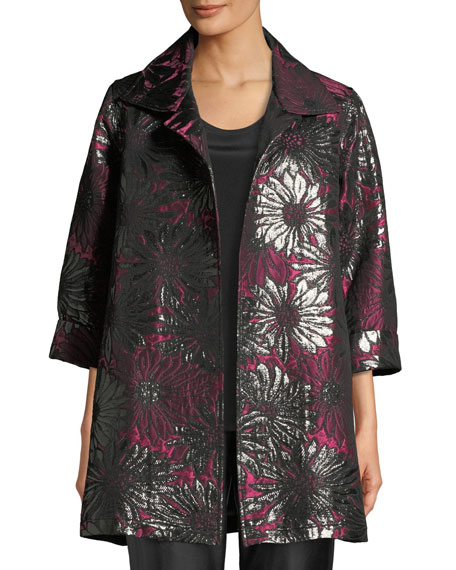 CAROLINE ROSE Center Stage Jacquard Party Jacket, Plus Size in Multi/Black