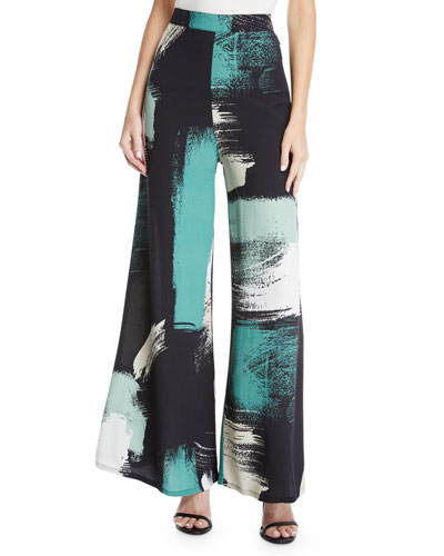 Lewis Printed High-Waist Wide-Leg Pants, Plus Size