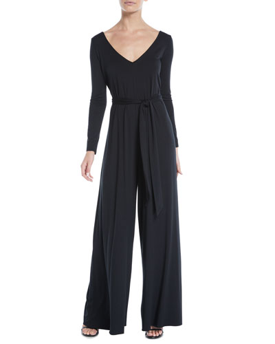 Judith V-Neck Long-Sleeve Jumpsuit, Plus Size
