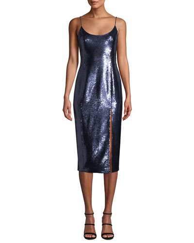 Avery Sleeveless Sequin Slip Cocktail Dress