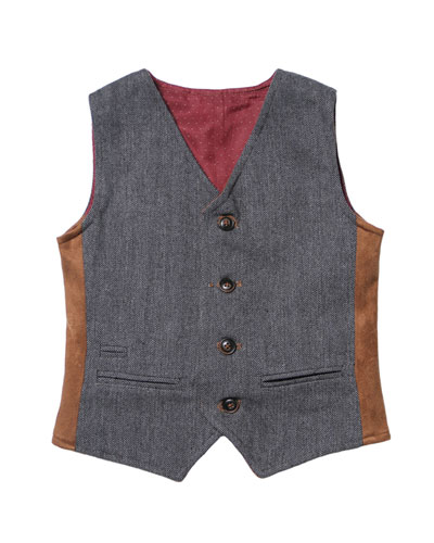 Herringbone & Pin-Dot Reversible Vest, Size 2-8