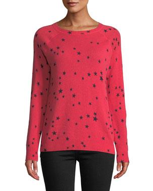 Autumn Cashmere Star-Print Cashmere Crewneck Sweater 7c5bacb774f
