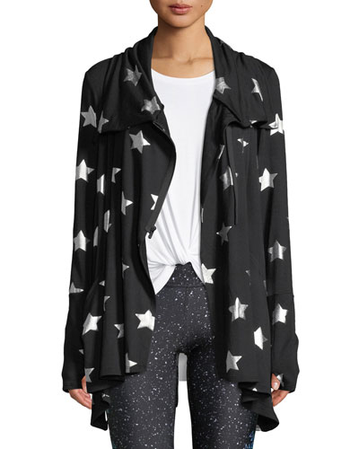 Foil-Printed Draped Zip-Front Jacket
