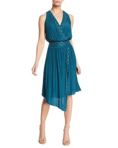 April Embellished Draped Cocktail Dress