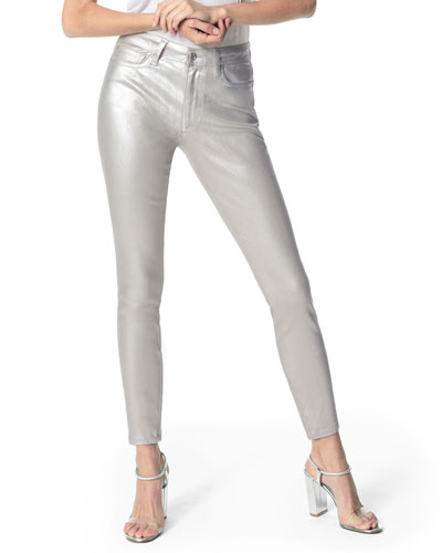 The Charlie Metallic Ankle Skinny Jeans