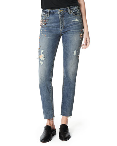 The Smith High-Rise Embellished Raw-Hem Skinny Jeans
