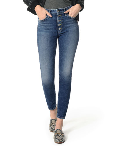 The Charlie Ankle Skinny Jeans with Button Fly