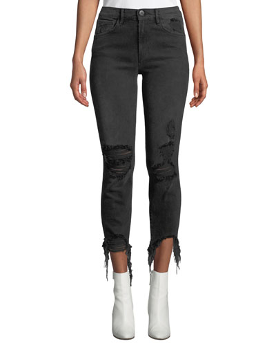 W3 Authentic Straight-Leg Crop Distressed Jeans