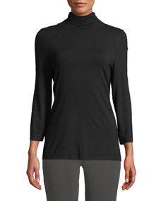 Misook 3/4-Sleeve Knit Turtleneck Top