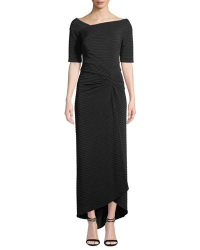 Avitus Pintuck Elbow-Sleeve Gown
