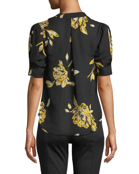 a591631694d02e Image 2 of 3  Ance Short-Sleeve Floral Silk Top