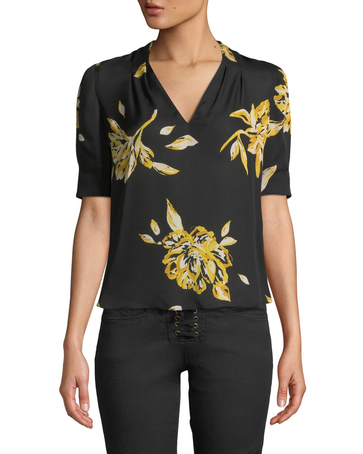 0993e1291f692 Joie Ance Short-Sleeve Floral Silk Top