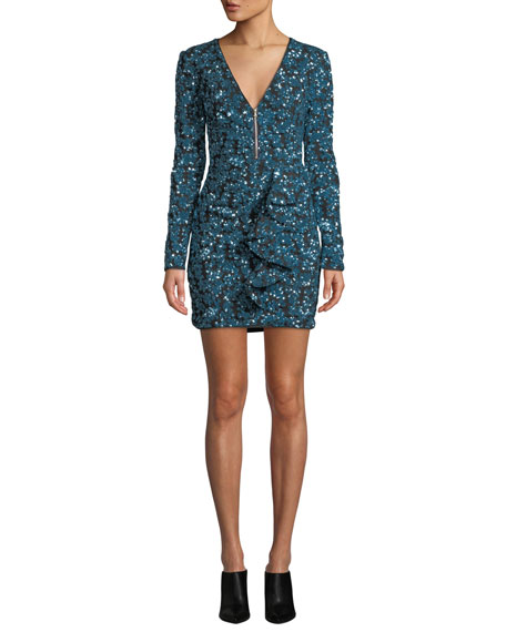 Zip-Front Sequin Frill Mini Cocktail Dress in Blue