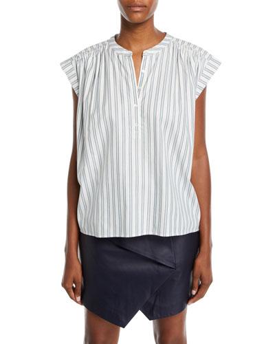 Jacquita Shadow-Stripe Cotton Cap-Sleeve Top