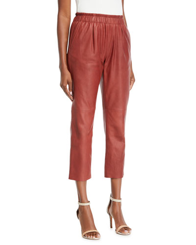 Araona Cropped Leather Jogger Pants