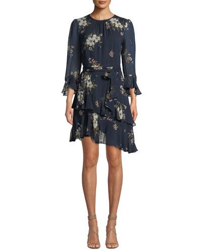 Kayane 3/4-Sleeve Asymmetric-Ruffle Floral-Print Silk Dress