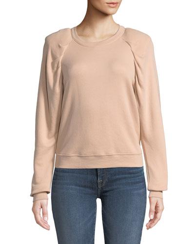 Korbyn Puff-Sleeve Cotton Crewneck Pullover Sweatshirt