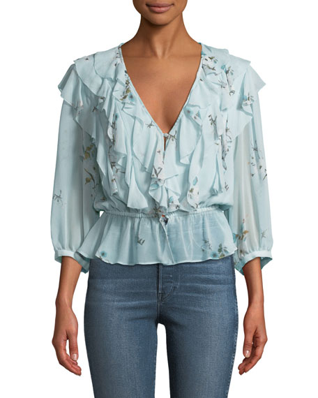Joie Arleyne Ruffled Floral Silk Top