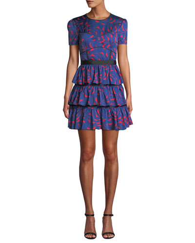 Tiered Printed Ruffle Short-Sleeve Mini Dress