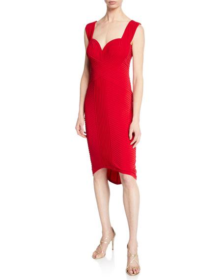 5f1c09c3a7e8b Tadashi Shoji Sweetheart Sleeveless Pintuck Jersey Cocktail Dress In Deep  Red