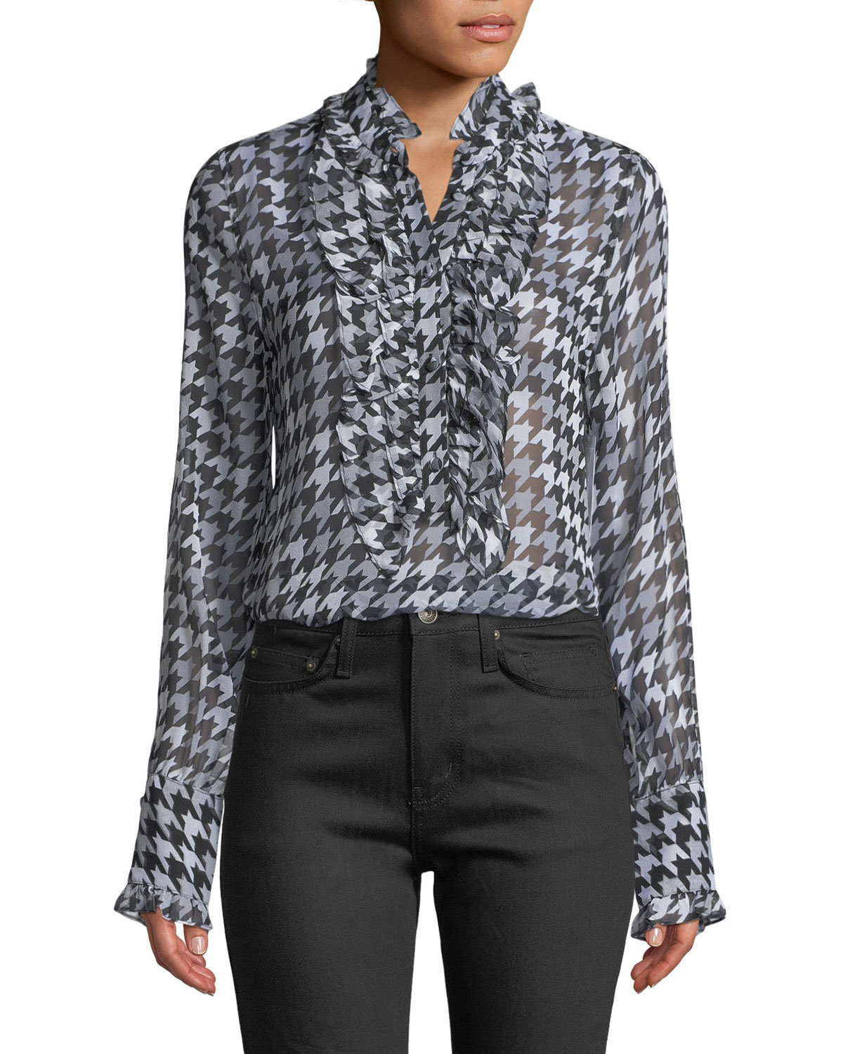 Equipment Samine Ruffled Bib Long Sleeve Houndstooth Silk Blouse